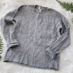Marled grey crew neck cable knit sweater